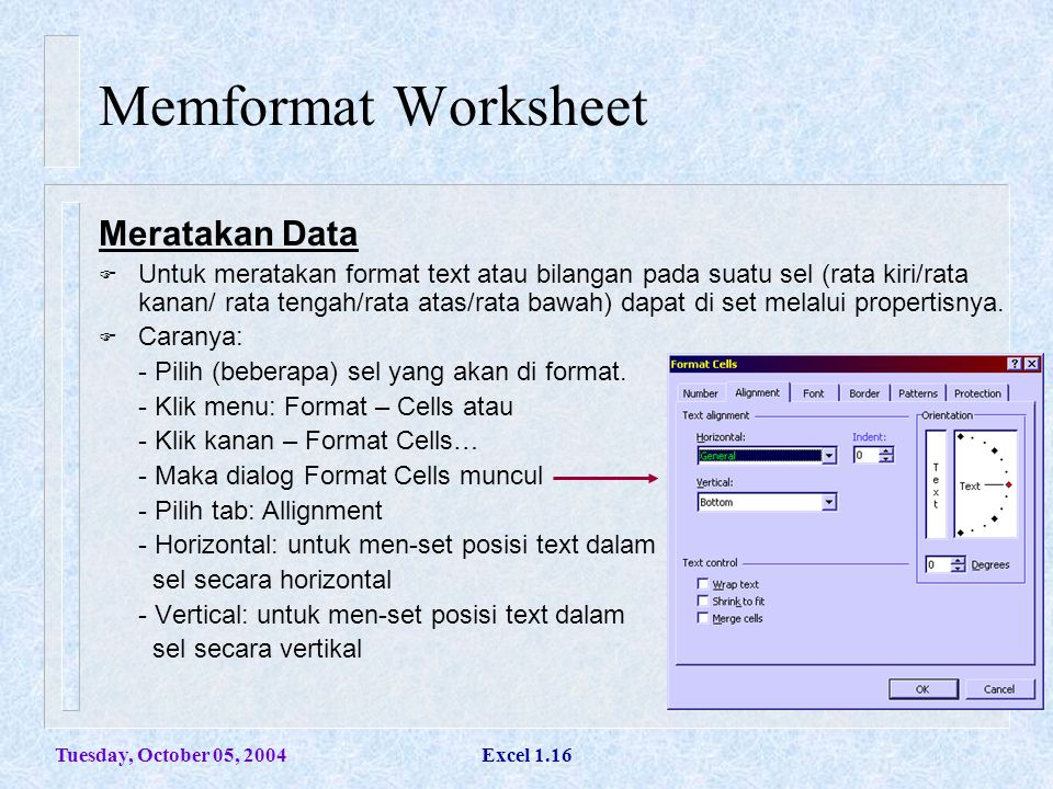 Memformat Worksheet Meratakan Data