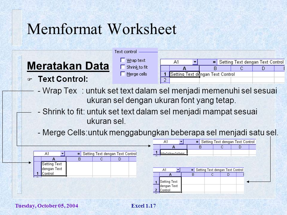 Memformat Worksheet Meratakan Data Text Control: