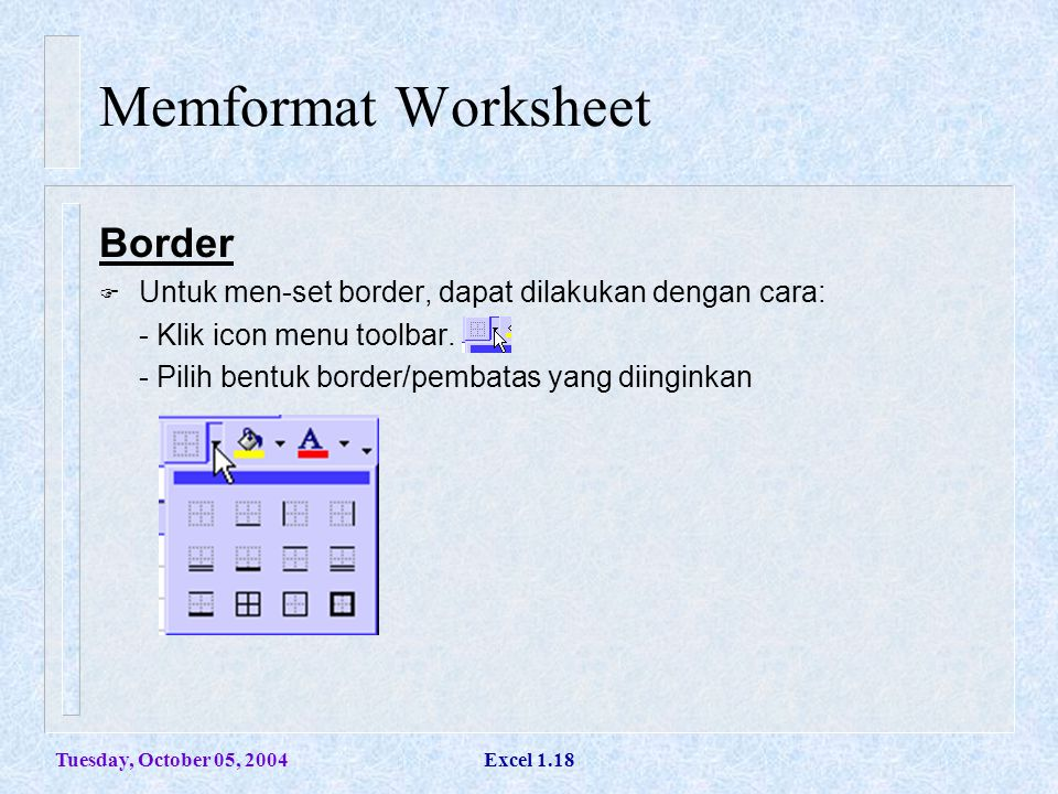 Memformat Worksheet Border