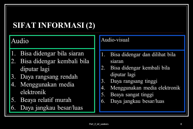 SIFAT INFORMASI (2) Audio Bisa didengar bila siaran