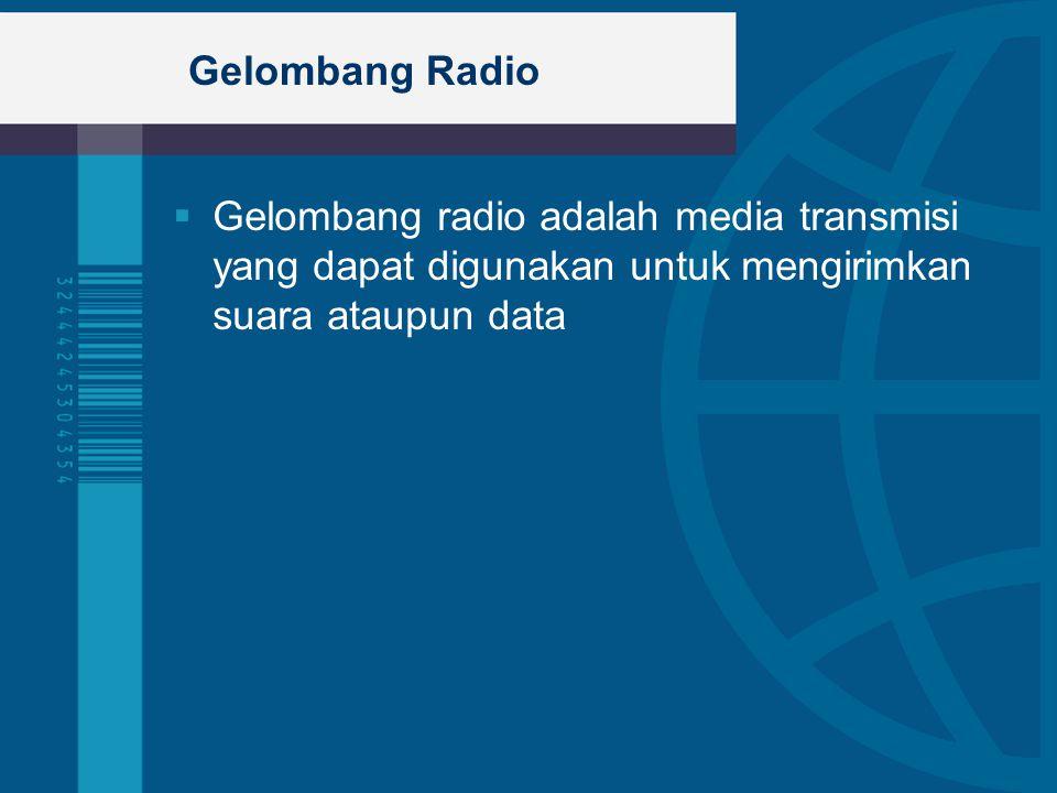 Gelombang Radio Gelombang radio adalah media transmisi yang dapat digunakan untuk mengirimkan suara ataupun data.