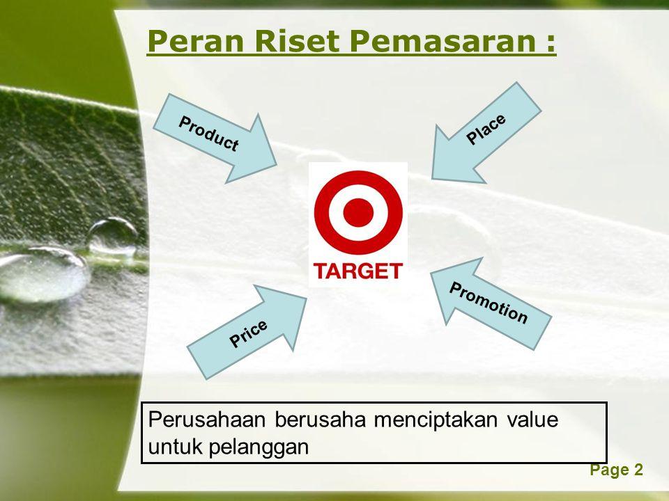 Peran Riset Pemasaran :