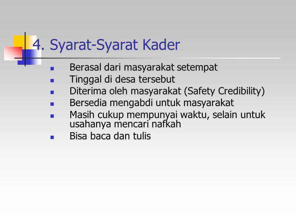4. Syarat-Syarat Kader Berasal dari masyarakat setempat