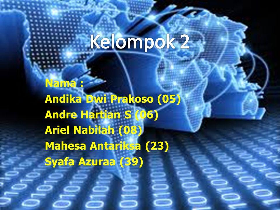 Kelompok 2 Nama : Andika Dwi Prakoso (05) Andre Hartian S (06)
