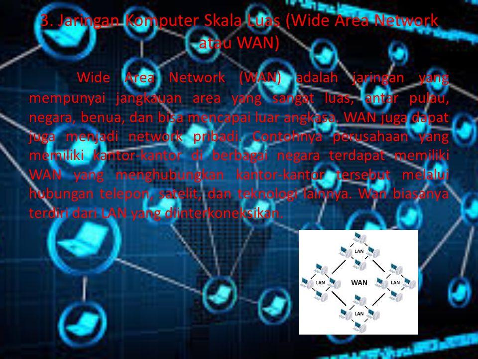 3. Jaringan Komputer Skala Luas (Wide Area Network atau WAN)