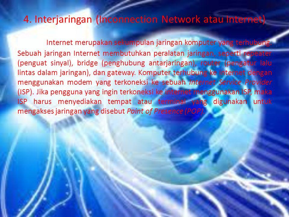 4. Interjaringan (Inconnection Network atau Internet)