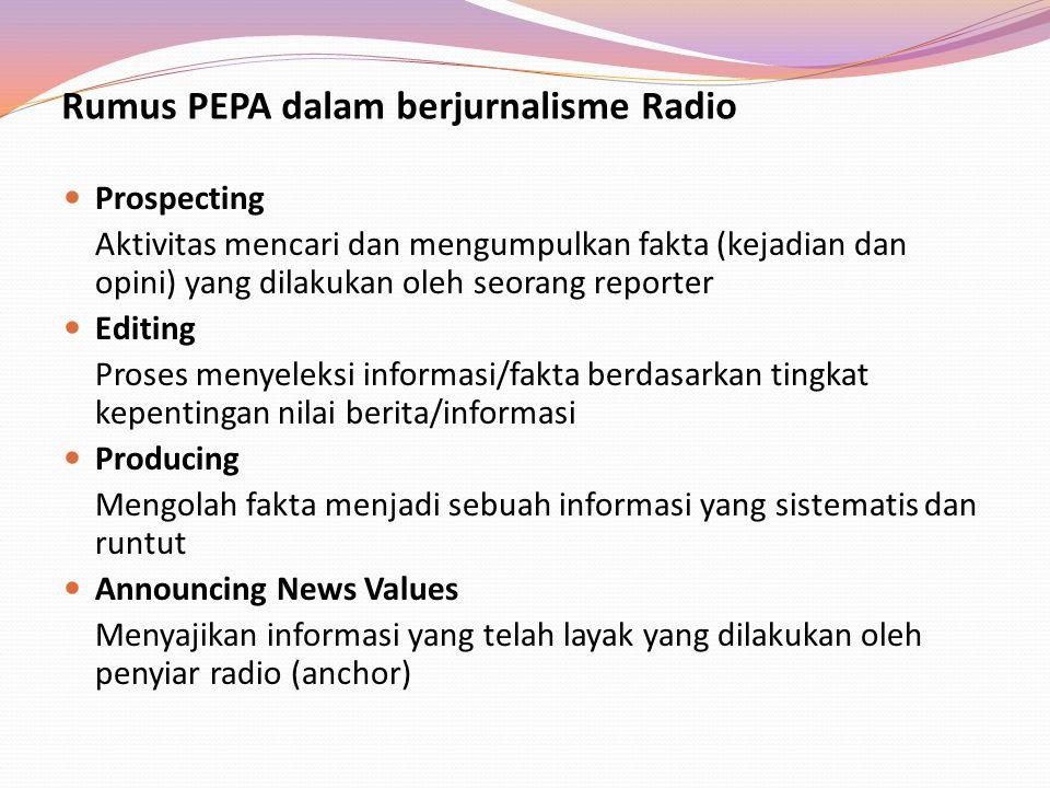 Rumus PEPA dalam berjurnalisme Radio