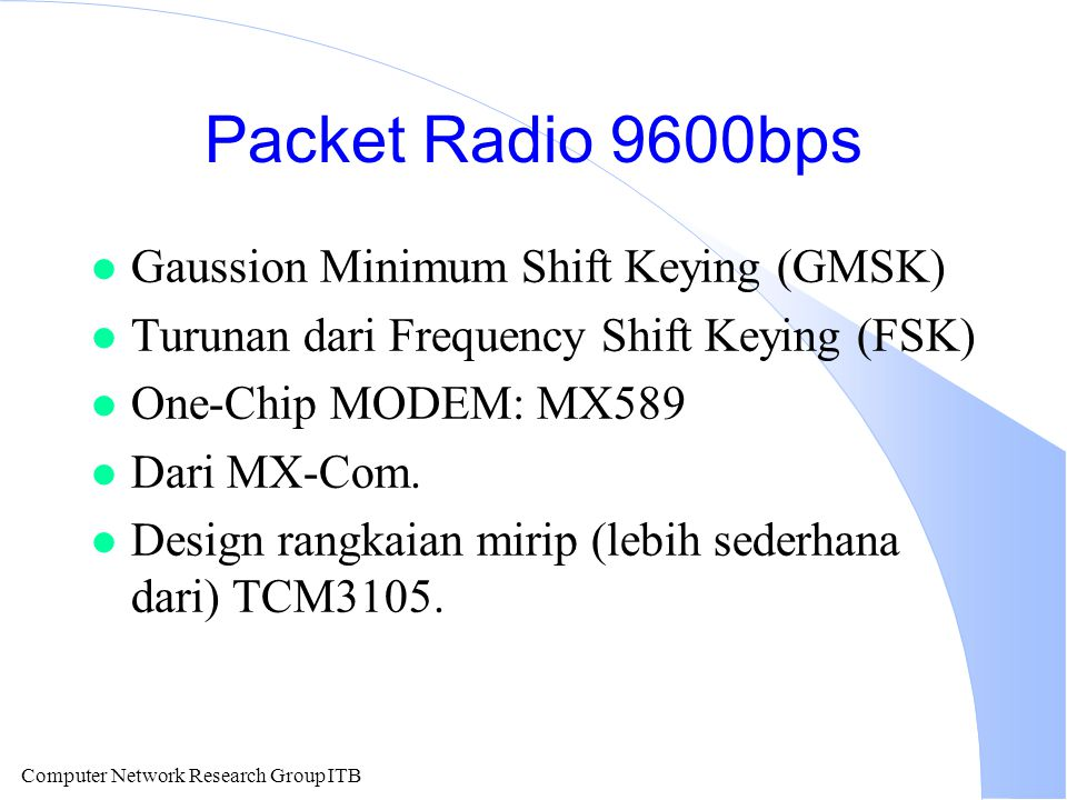 Packet Radio 9600bps Gaussion Minimum Shift Keying (GMSK)