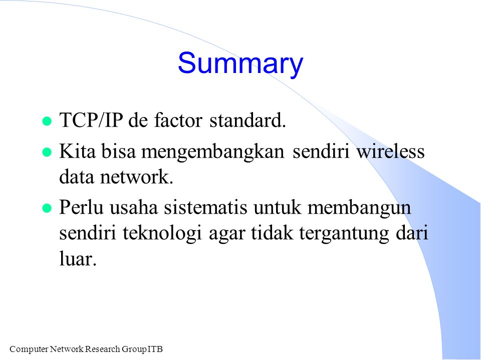 Summary TCP/IP de factor standard.