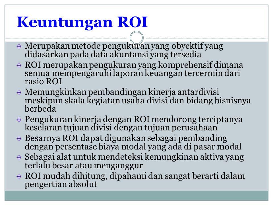 Keuntungan ROI Merupakan metode pengukuran yang obyektif yang didasarkan pada data akuntansi yang tersedia.
