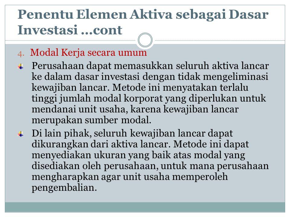 Penentu Elemen Aktiva sebagai Dasar Investasi …cont