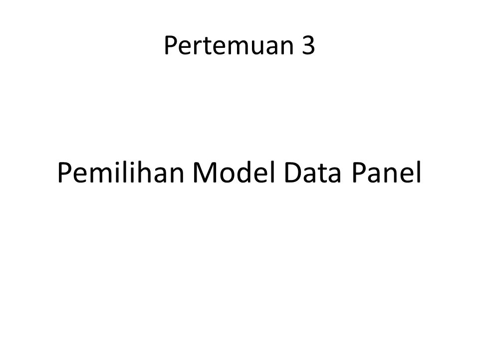 Pemilihan Model Data Panel