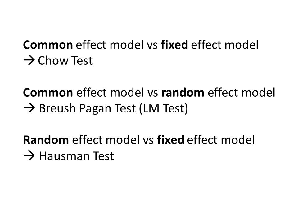 Common effect model vs fixed effect model