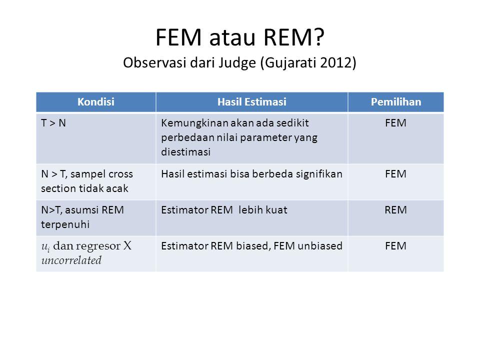 FEM atau REM Observasi dari Judge (Gujarati 2012)