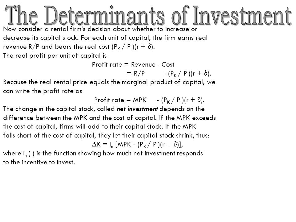 The Determinants of Investment