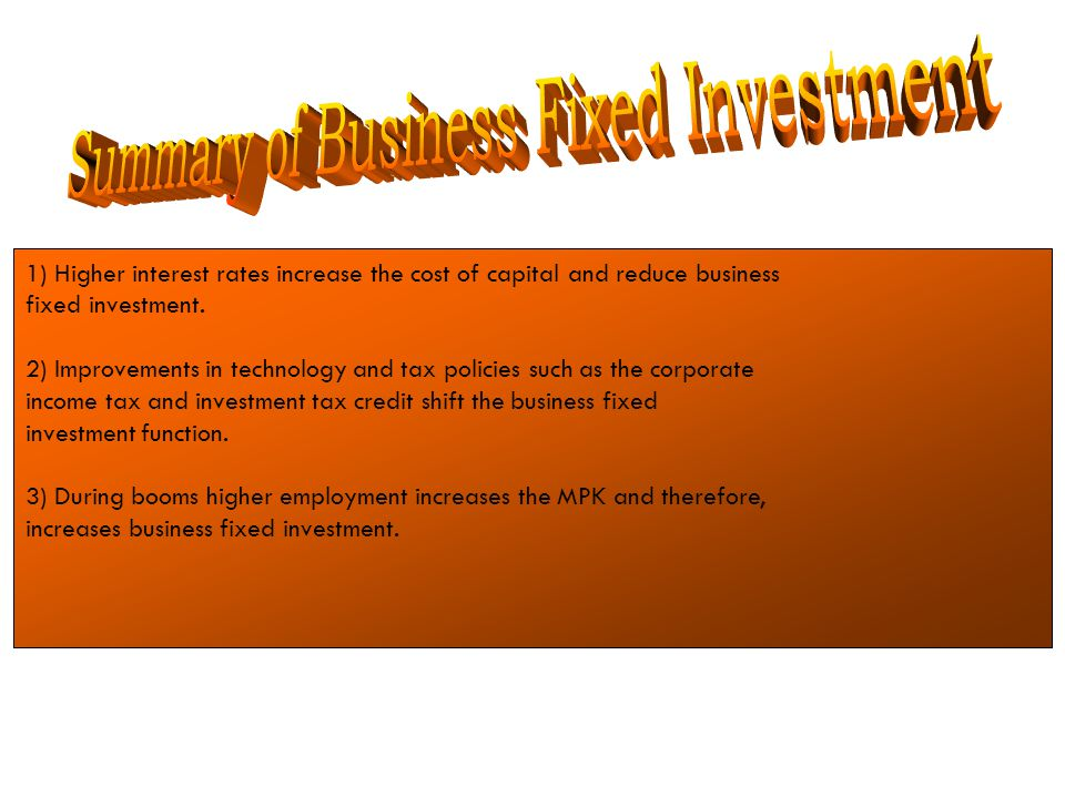 Summary of Business Fixed Investment