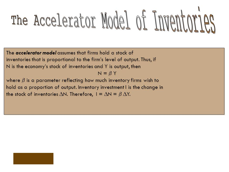 The Accelerator Model of Inventories