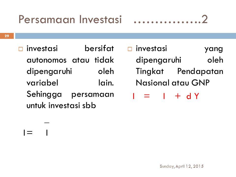 Persamaan Investasi …………….2
