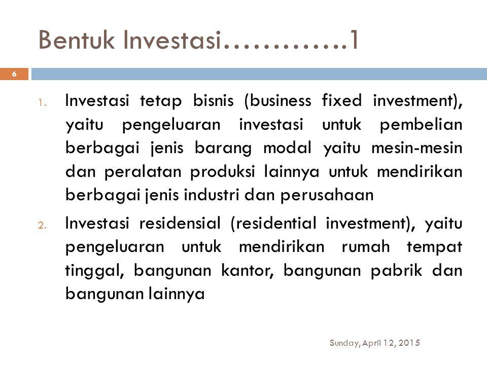 Bentuk Investasi………….1