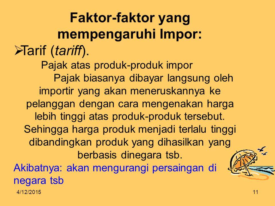 Faktor-faktor yang mempengaruhi Impor: