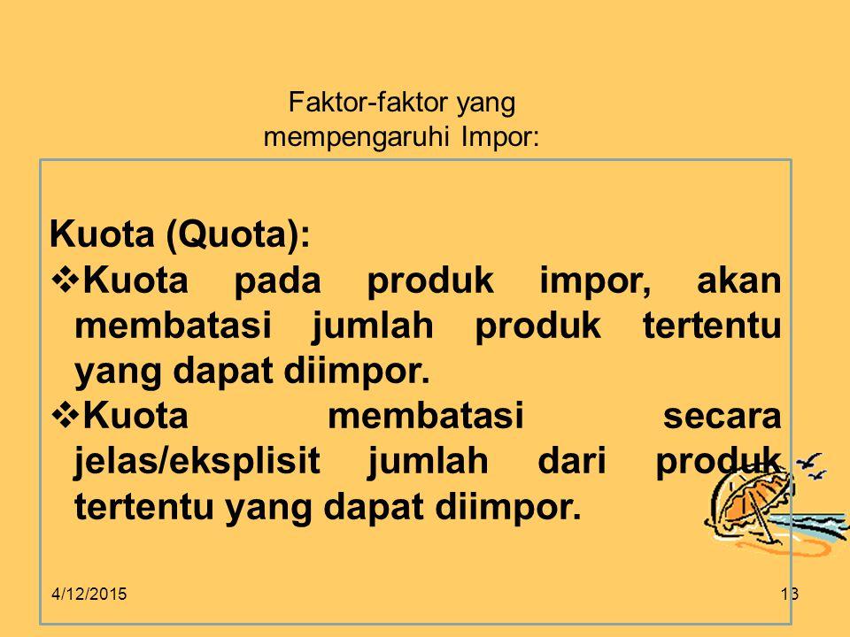 Faktor-faktor yang mempengaruhi Impor: Kuota (Quota): Kuota pada produk impor, akan membatasi jumlah produk tertentu yang dapat diimpor.