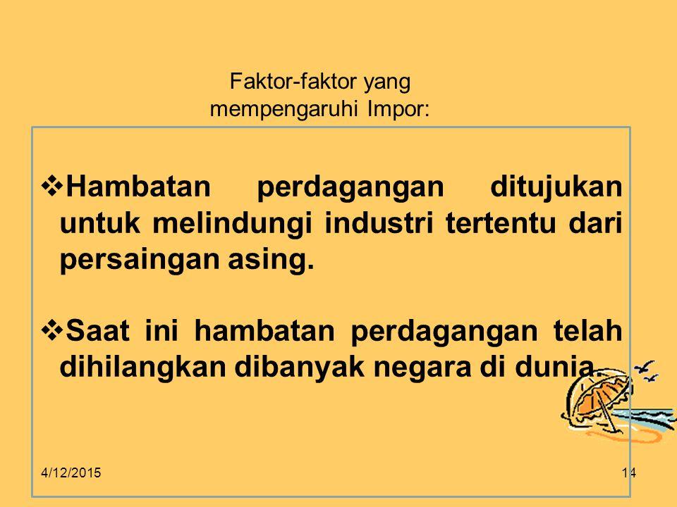 Faktor-faktor yang mempengaruhi Impor: Hambatan perdagangan ditujukan untuk melindungi industri tertentu dari persaingan asing.