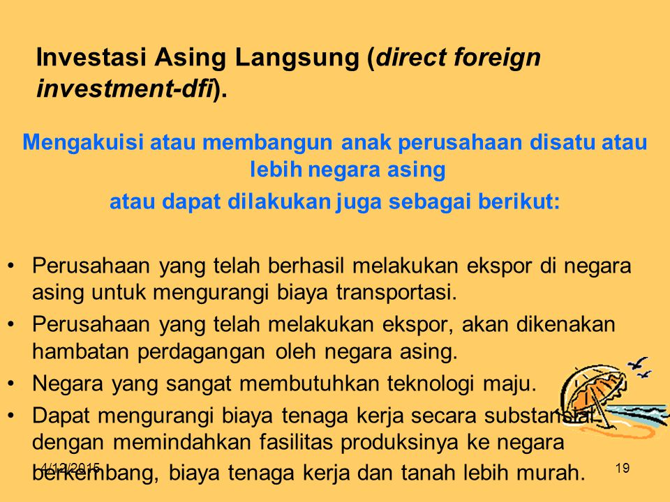 Investasi Asing Langsung (direct foreign investment-dfi).