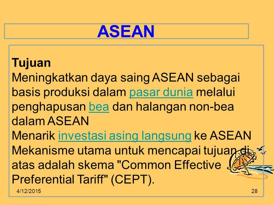 ASEAN Tujuan. Meningkatkan daya saing ASEAN sebagai basis produksi dalam pasar dunia melalui penghapusan bea dan halangan non-bea dalam ASEAN.