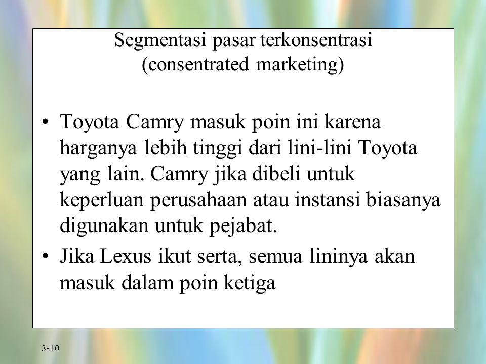 Segmentasi pasar terkonsentrasi (consentrated marketing)
