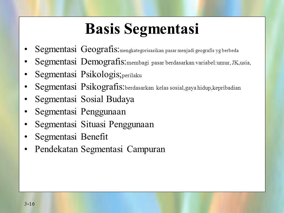 Basis Segmentasi Segmentasi Geografis:mengkategorisasikan pasar menjadi geografis yg berbeda.