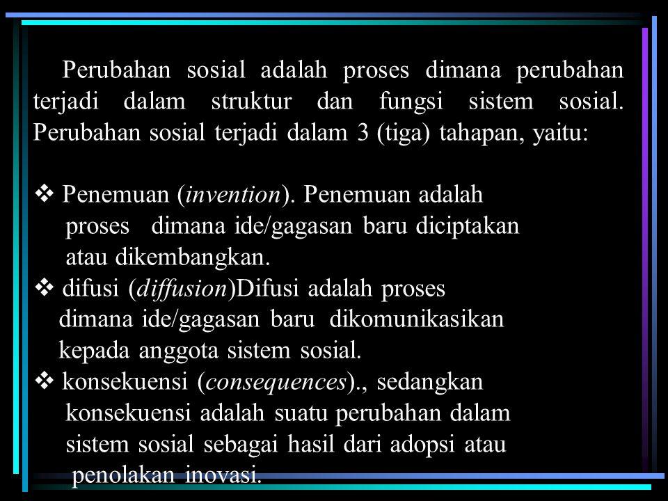 Perubahan sosial adalah proses dimana perubahan terjadi dalam struktur dan fungsi sistem sosial. Perubahan sosial terjadi dalam 3 (tiga) tahapan, yaitu: