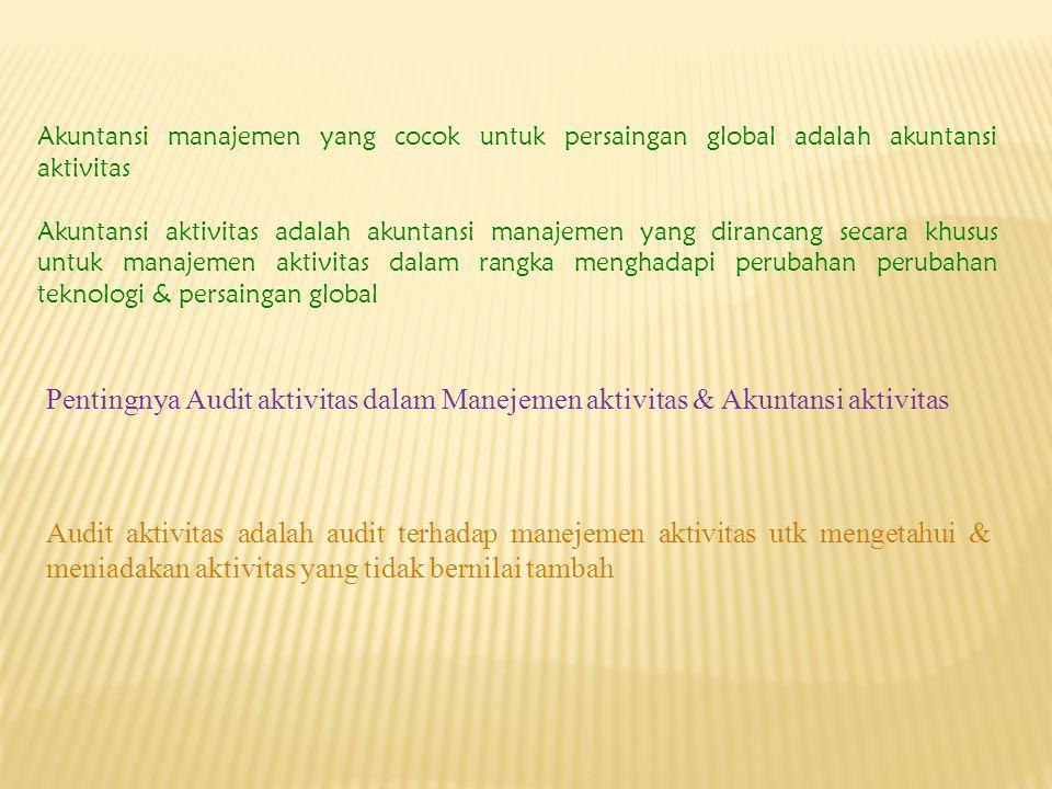 Akuntansi manajemen yang cocok untuk persaingan global adalah akuntansi aktivitas