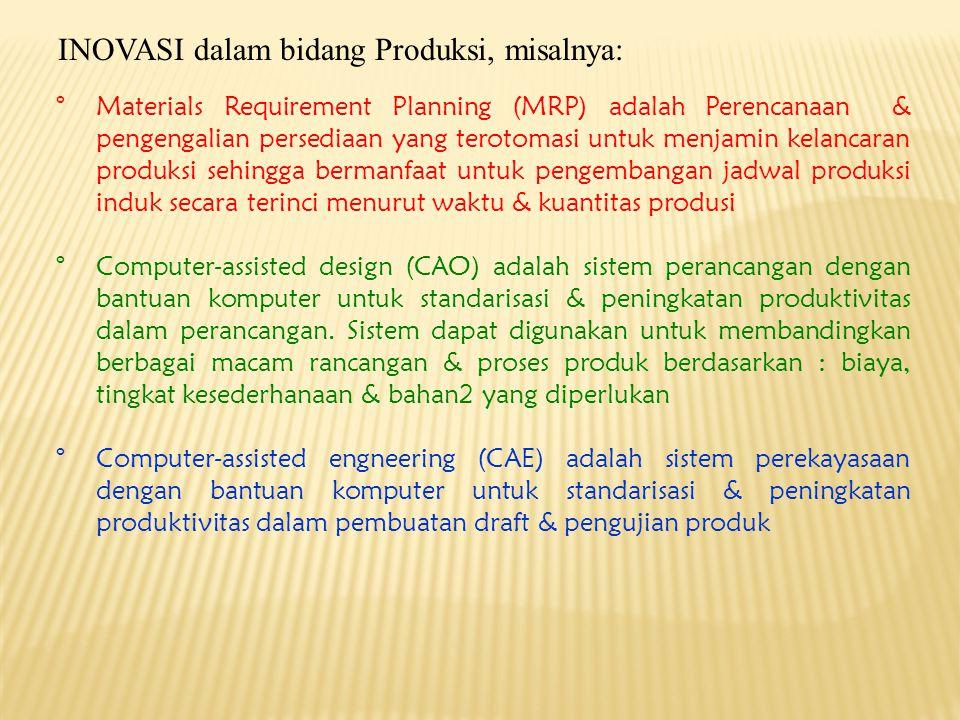 INOVASI dalam bidang Produksi, misalnya: