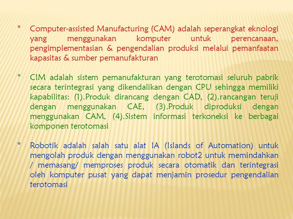 Computer-assisted Manufacturing (CAM) adalah seperangkat eknologi yang menggunakan komputer untuk perencanaan, pengimplementasian & pengendalian produksi melalui pemanfaatan kapasitas & sumber pemanufakturan