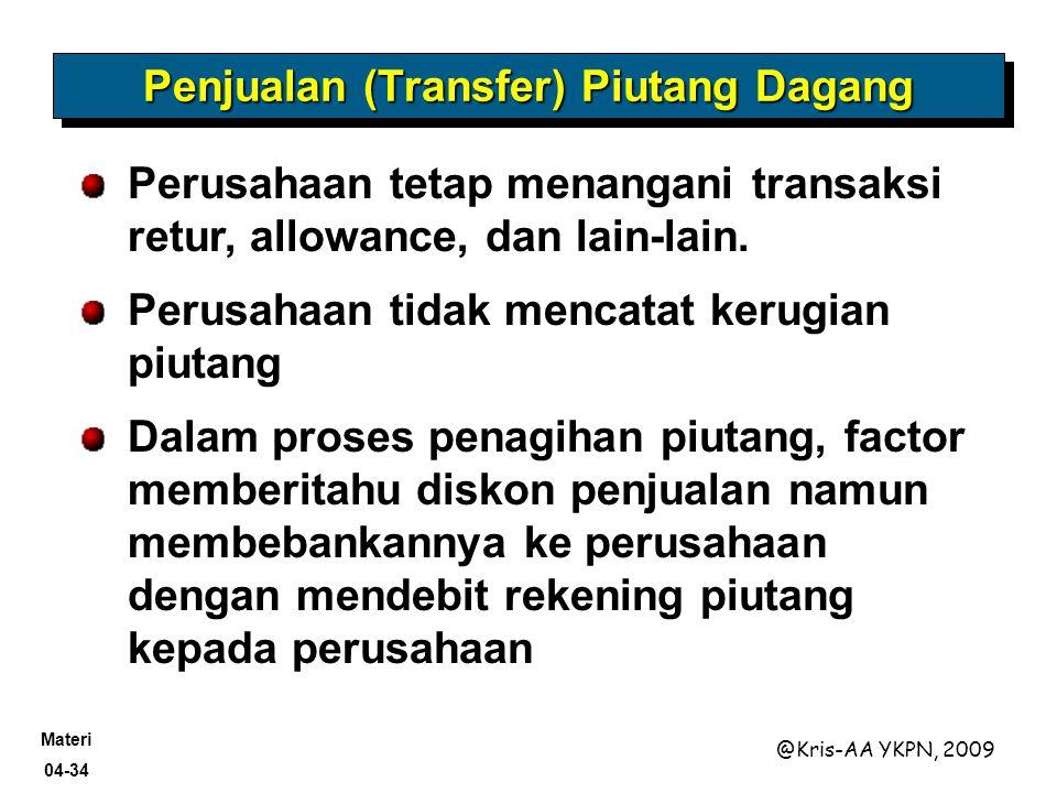 Penjualan (Transfer) Piutang Dagang