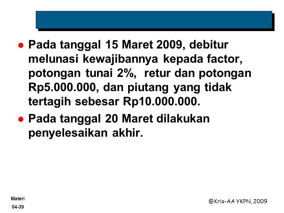 Pada tanggal 15 Maret 2009, debitur melunasi kewajibannya kepada factor, potongan tunai 2%, retur dan potongan Rp5.000.000, dan piutang yang tidak tertagih sebesar Rp10.000.000.