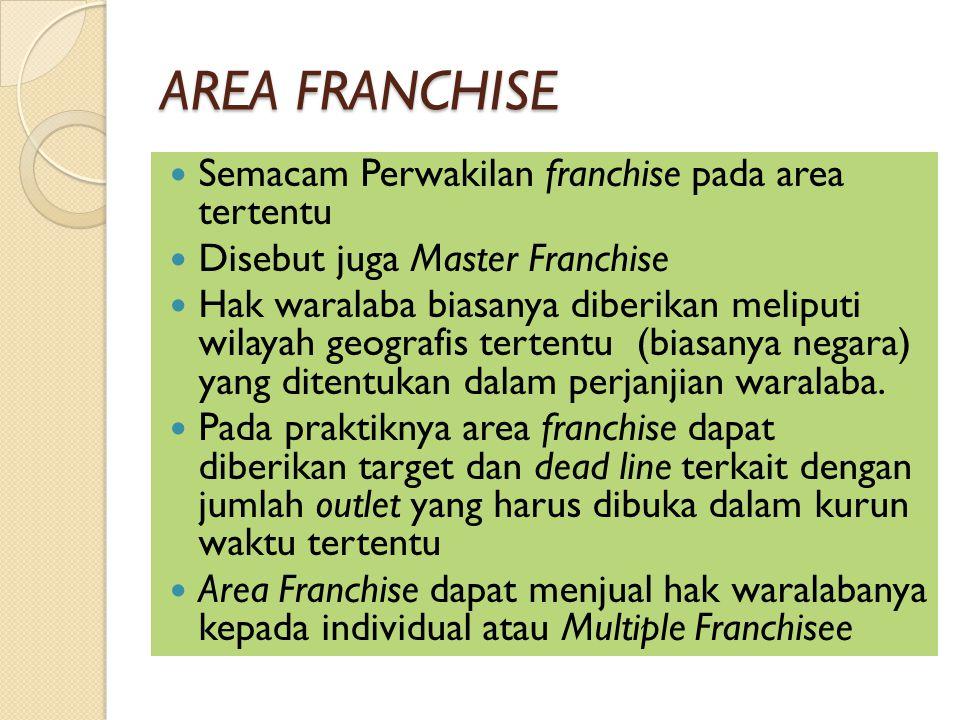 AREA FRANCHISE Semacam Perwakilan franchise pada area tertentu