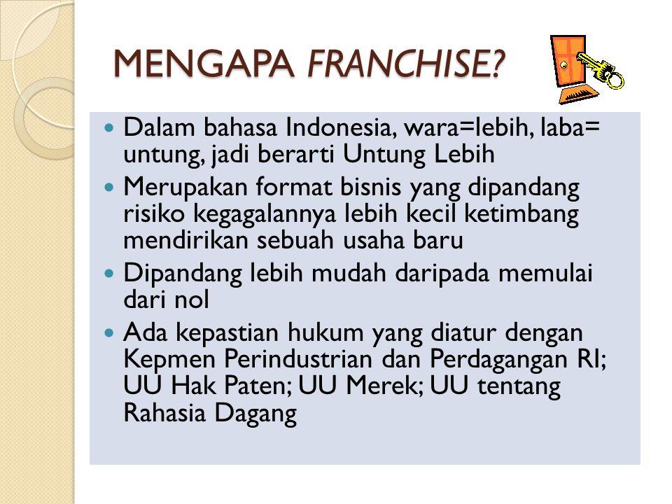 MENGAPA FRANCHISE Dalam bahasa Indonesia, wara=lebih, laba= untung, jadi berarti Untung Lebih.