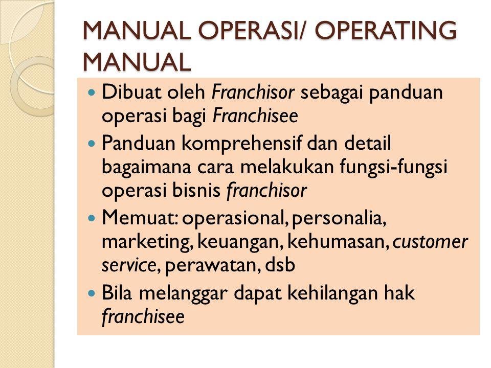 MANUAL OPERASI/ OPERATING MANUAL