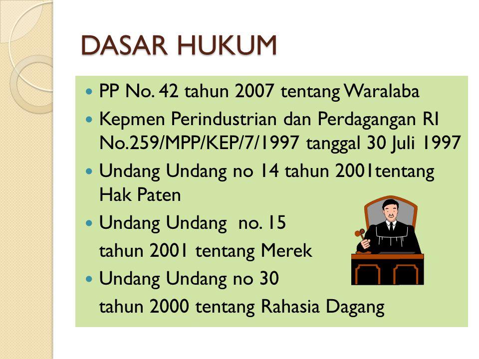 DASAR HUKUM PP No. 42 tahun 2007 tentang Waralaba