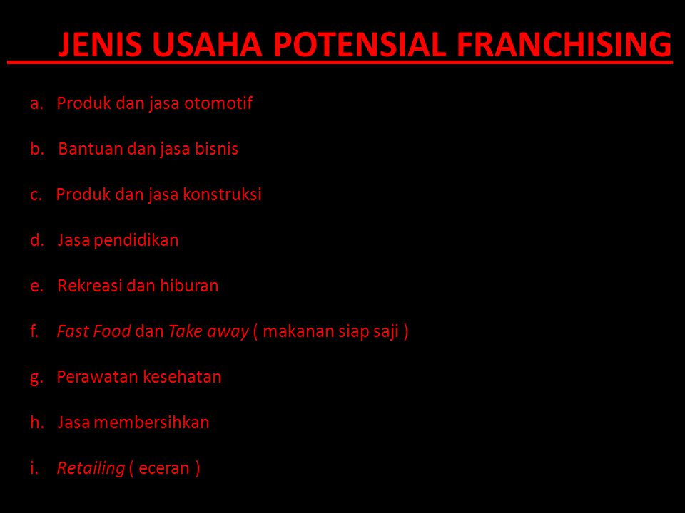 JENIS USAHA POTENSIAL FRANCHISING