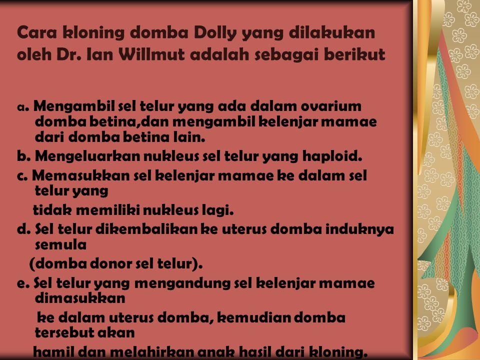 Cara kloning domba Dolly yang dilakukan oleh Dr