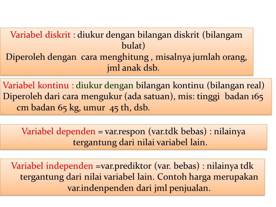 Variabel diskrit : diukur dengan bilangan diskrit (bilangam bulat)