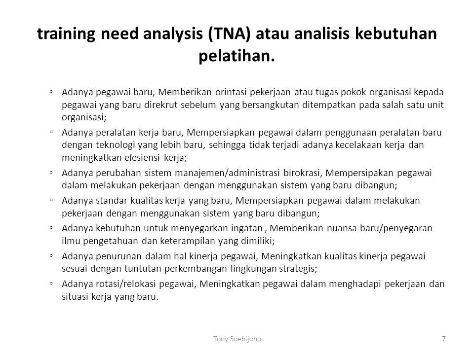 training need analysis (TNA) atau analisis kebutuhan pelatihan.