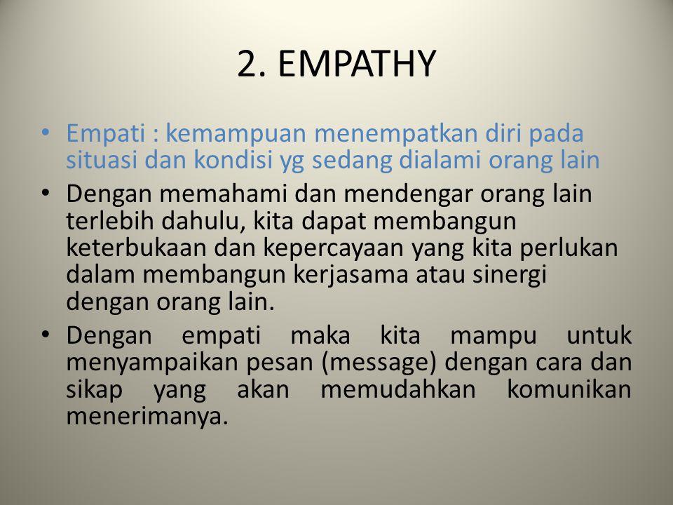 2. EMPATHY Empati : kemampuan menempatkan diri pada situasi dan kondisi yg sedang dialami orang lain.