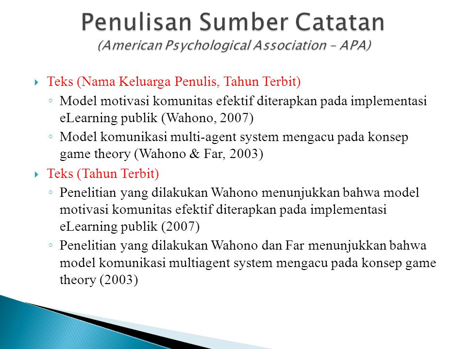 Penulisan Sumber Catatan (American Psychological Association – APA)