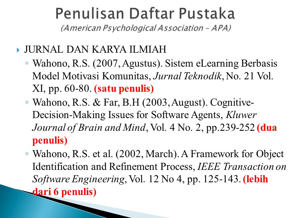 Penulisan Daftar Pustaka (American Psychological Association – APA)