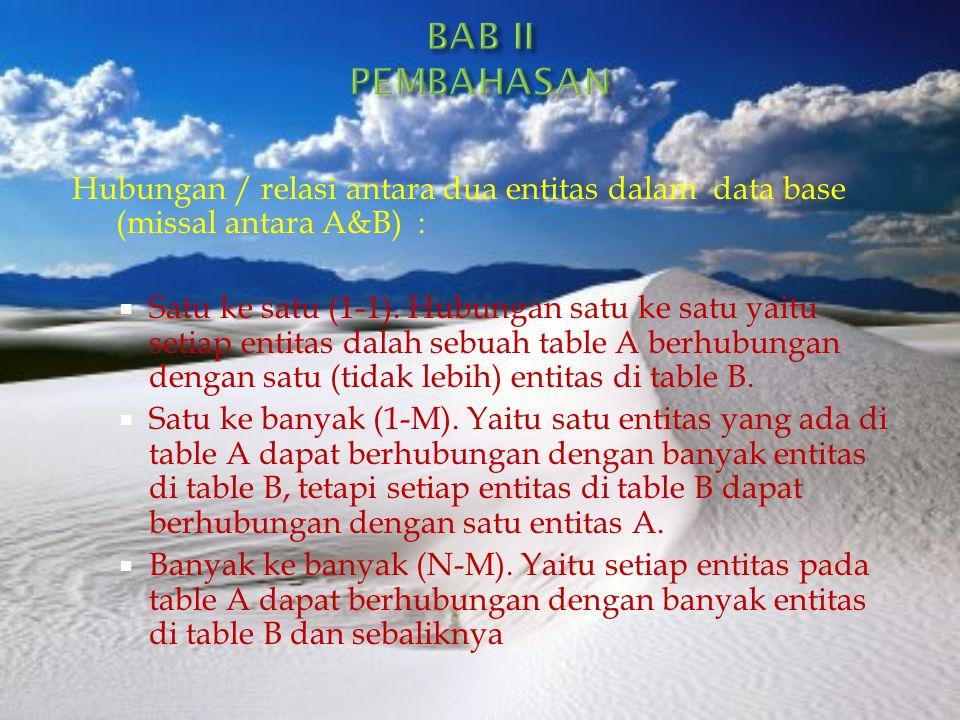 BAB II PEMBAHASAN Hubungan / relasi antara dua entitas dalam data base (missal antara A&B) :