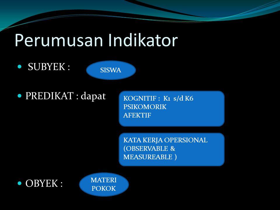 Perumusan Indikator SUBYEK : PREDIKAT : dapat OBYEK : SISWA
