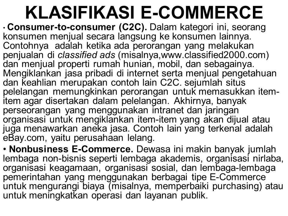 KLASIFIKASI E-COMMERCE